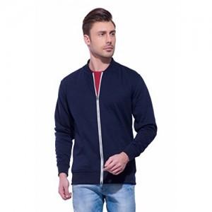 Alan Jones Clothing Men's Blue Solid Fleece Sweatshirt