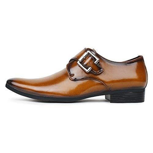 AryanEnterprises Men's Tan Synthetic Leather Formal Shoes