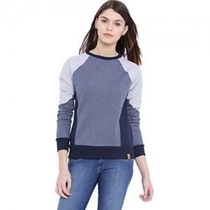 Campus Sutra Women's Grey Cotton Sweatshirt