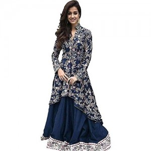 SKD FASHION Blue Silk Semi-stitched Gown