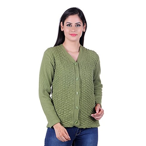 eWools Women's Green Solid Woolen Button Cardigan