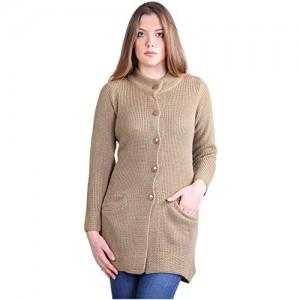 Montrex Beige Woolen Crew Neck Solid Long Coat