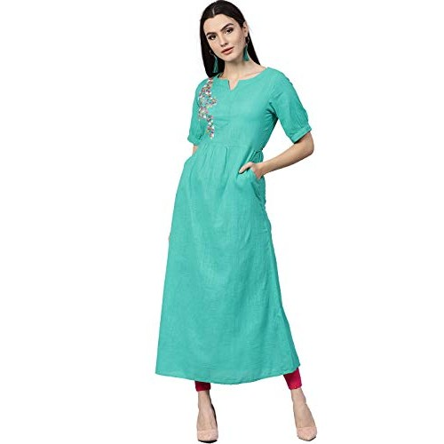 Jaipur Kurti Sea Green Cotton Solid A-Line Cotton Slub Kurta