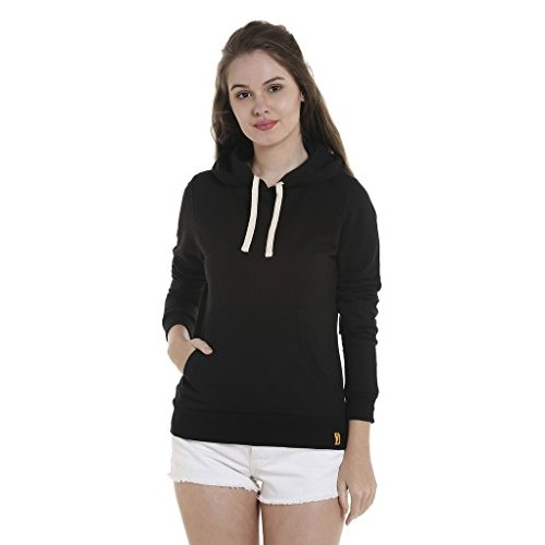 Campus Sutra Women's Black Cotton Sweatshirt