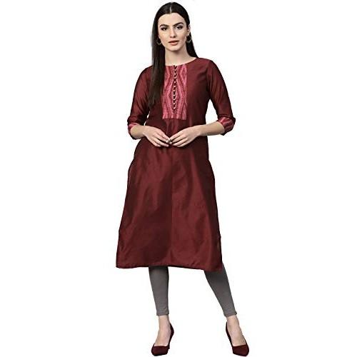 Jaipur Kurti Maroon Cotton Straight Chanderi Kurta with Inner