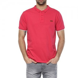 Elaborado Pink Cotton Jersey Solid Polo Tshirt