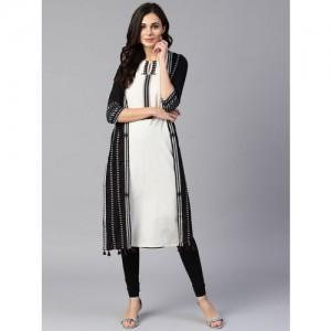 W Women Black & Off-White Solid Layered Straight Kurta