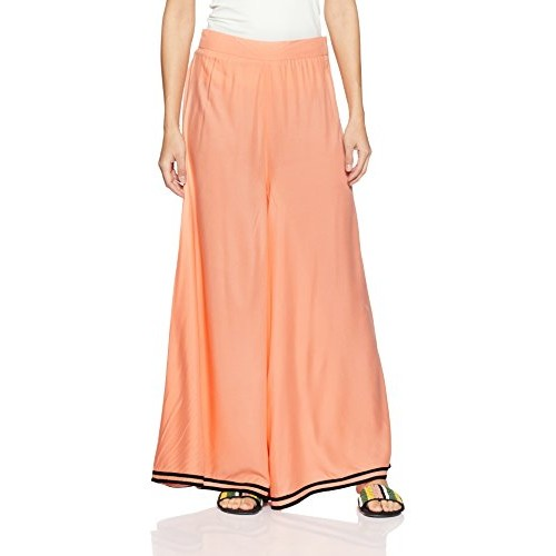 W for Woman Peach Synthentic Palazzo