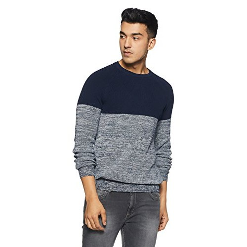 Celio Blue Cotton Solid Sweater