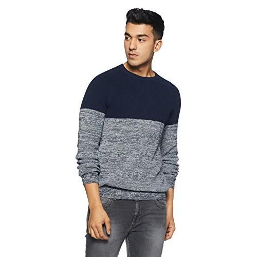 Celio Blue Cotton Solid Sweater