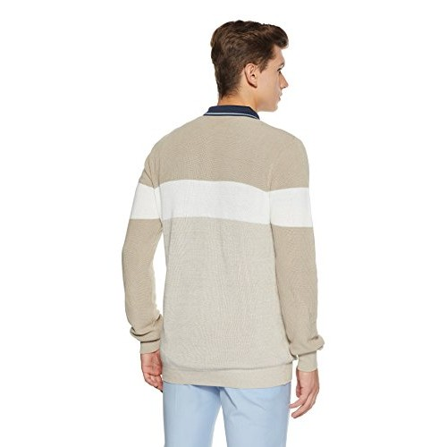 Celio Beige Cotton Solid Sweater