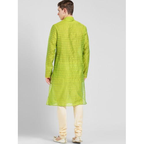 KISAH Men Green & Beige Self Design Kurta with Churidar