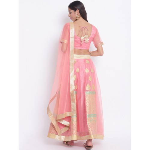 Shakumbhari Pink & Golden Solid Ready to Wear Brocade Lehenga & Blouse with Dupatta