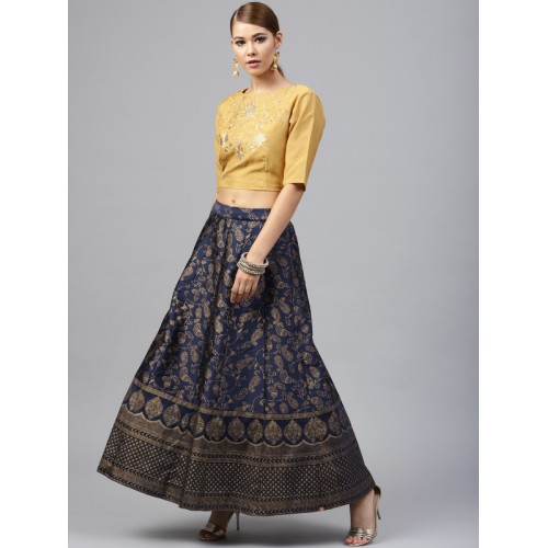 Juniper Navy Blue & Golden Ready to Wear Printed Lehenga with Blouse