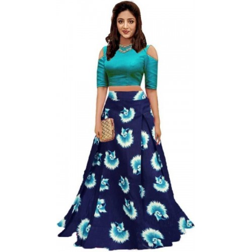 Mozila Printed Semi Stitched Lehenga Choli(Light Green)