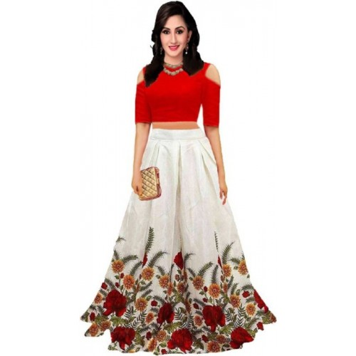 rukhsar fab Digital Print Lehenga Choli(Red)