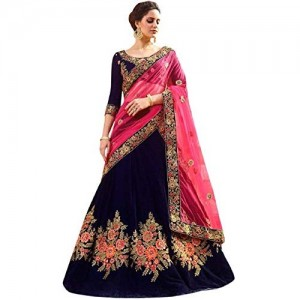 SM Beauty Collection Navy Blue Silk Embroidered Semi stitched Lehenga choli with dupatta Set