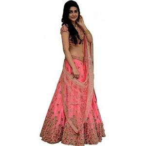 Clickedia Peach Banglore Cotton Silk Embroidery Work Lehenga With Blouse piece