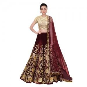 52f08934dde W Ethnic Maroon Designer Bollywood Style Velvet Embroidery Work  Semi-Stitched Lehenga Choli