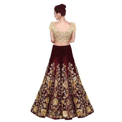 W Ethnic Maroon Designer Bollywood Style Velvet Embroidery Work Semi-Stitched Lehenga Choli