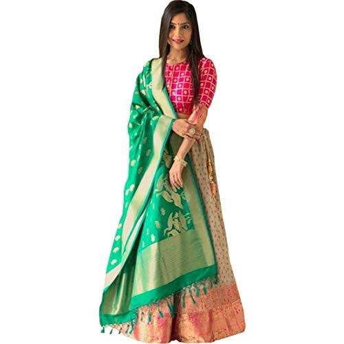 Sai creation Women's Silk Multi color Lehenga cholis (Sx524_Multi color_Free Size)