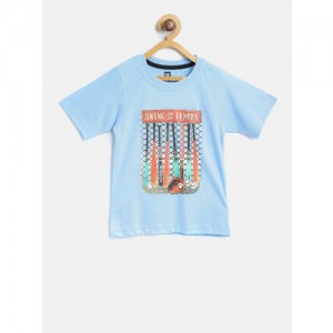 612 league Boys Blue Printed Round Neck T-shirt