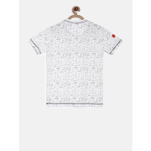 Palm Tree Boys White Printed Round Neck T-shirt