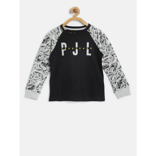 Pepe Jeans Boys Black Printed Round Neck T-shirt