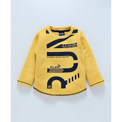 Little KangaroosFull Sleeves Tee Run Print - Yellow