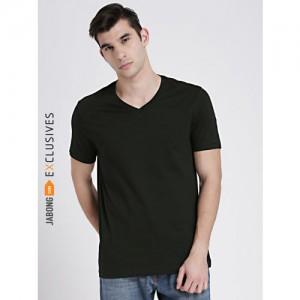 Black Solid V Neck T-Shirt