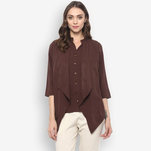 Krapal Party 3/4th Sleeve Solid Women's Brown Top