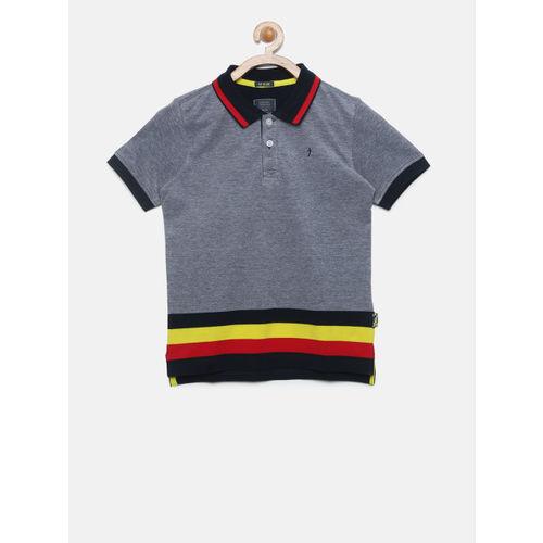 48a386d5 Buy Indian Terrain Boys Grey Colourblocked Polo Collar T-shirt online ...