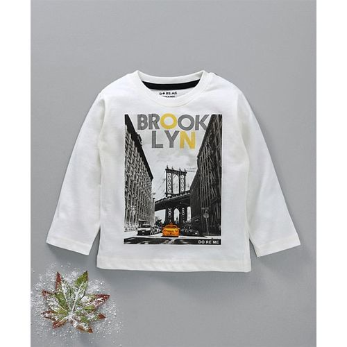 Doreme Full Sleeves Tee Brooklyn Print - Off White