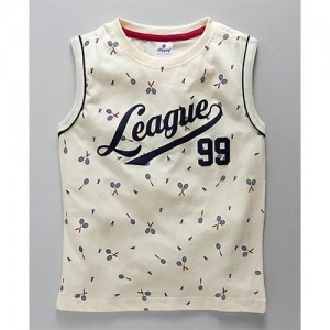 0151268add402 Ollypop Sleeveless Tee League 99 Print - Cream