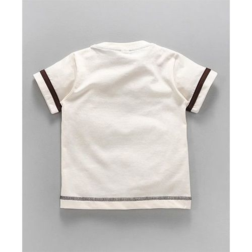 Teddy Half Sleeves T-Shirt Cool Kid Print - Cream