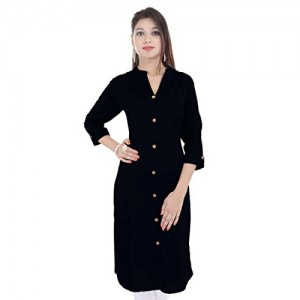 Saubhagyawati Fashions Women's Black Solid Wood Button Kurti