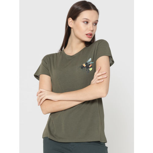 a748029e49d Buy ONLY Women Olive Green Solid Round Neck T-shirt online | Looksgud.in