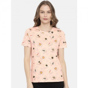 ONLY Pink Printed Round Neck T-shirt