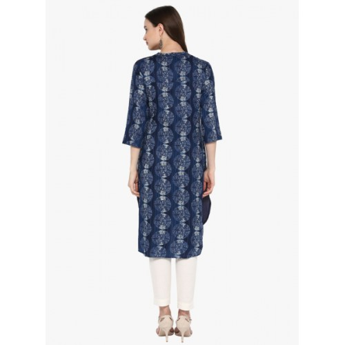 Juniper Women Abstract Trail Cut Kurta(Blue)