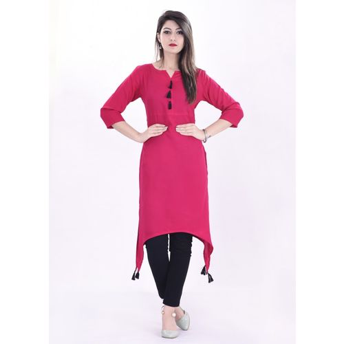 BOSQUE Casual Solid Women's Kurti(Pink)