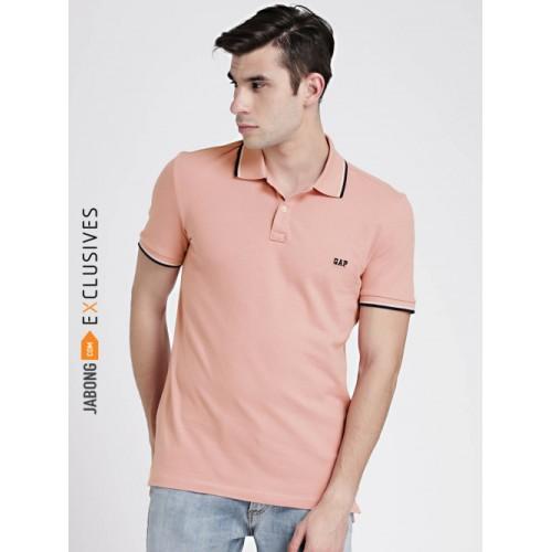 35634bfa Buy GAP Peach Cotton Solid Regular Fit Polo T-Shirt online ...