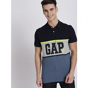 GAP Men's Navy Blue Logo Colorblocked Polo with Neon Taping