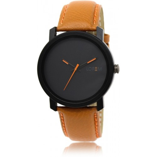 LOREM LK-20 Black-Orange Round Leather Watch  - For Men