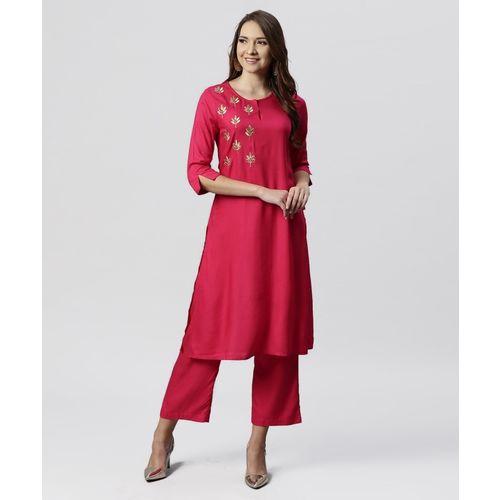 Juniper Women Embroidered Straight Kurta(Pink)