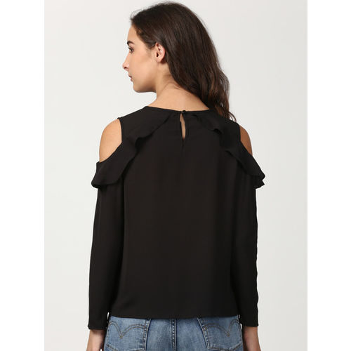 1648415b45211b Buy Harpa Casual Cold Shoulder Solid Women's Black Top online ...
