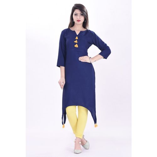 BOSQUE Casual Solid Women Kurti(Blue)
