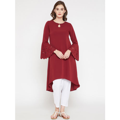 RARE ROOTS Women Maroon Solid A-Line Kurta with Laser Cuts
