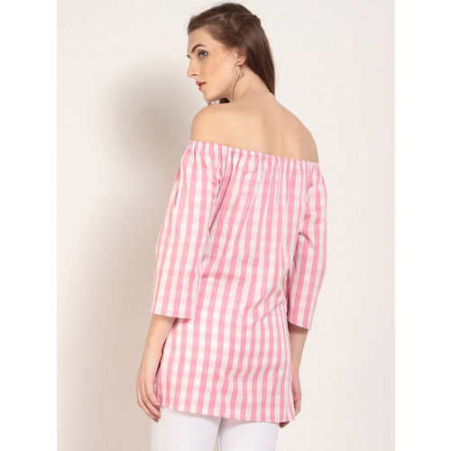 d37243aef0d6f8 ... White Top  Marie Claire Casual Shoulder Strap Striped Women s Pink