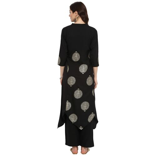 ZIYAA Ziyaa Women's Black Color A-Line Foil Print Kurta (ZIKUCR2338)