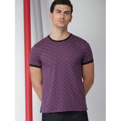 INVICTUS Purple Cotton Printed Round Neck T-Shirt